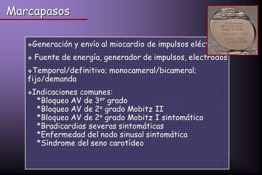 Generación y envío al miocardio de impulsos eléctricos Fuente de energía, generador de impulsos, electrodos Temporal/definitivo; monocameral/bicameral