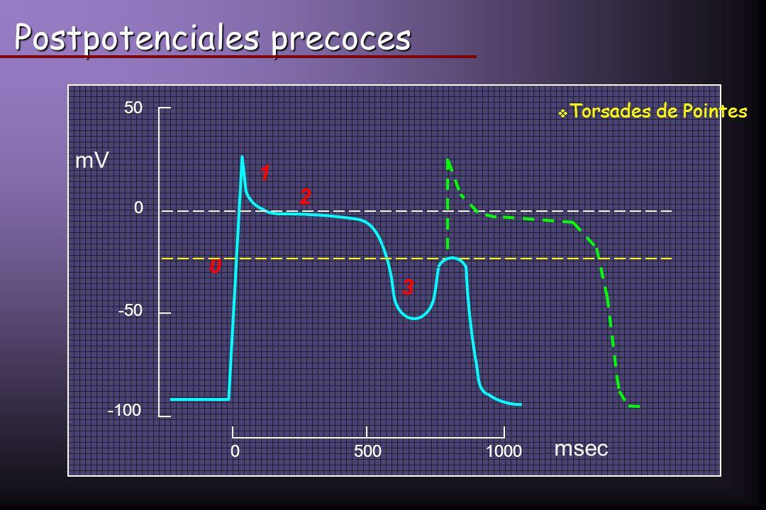 Postpotenciales precoces 05001000 0 1 2 3 mV msec 50 0 -50 -100 Torsades de Pointes