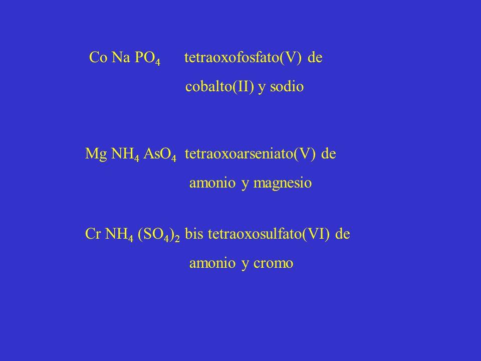 Co Na PO 4 tetraoxofosfato(V) de cobalto(II) y sodio Mg NH 4 AsO 4 tetraoxoarseniato(V) de amonio y magnesio Cr NH 4 (SO 4 ) 2 bis tetraoxosulfato(VI) de amonio y cromo