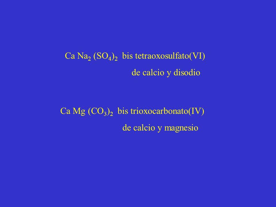 Ca Na 2 (SO 4 ) 2 bis tetraoxosulfato(VI) de calcio y disodio Ca Mg (CO 3 ) 2 bis trioxocarbonato(IV) de calcio y magnesio