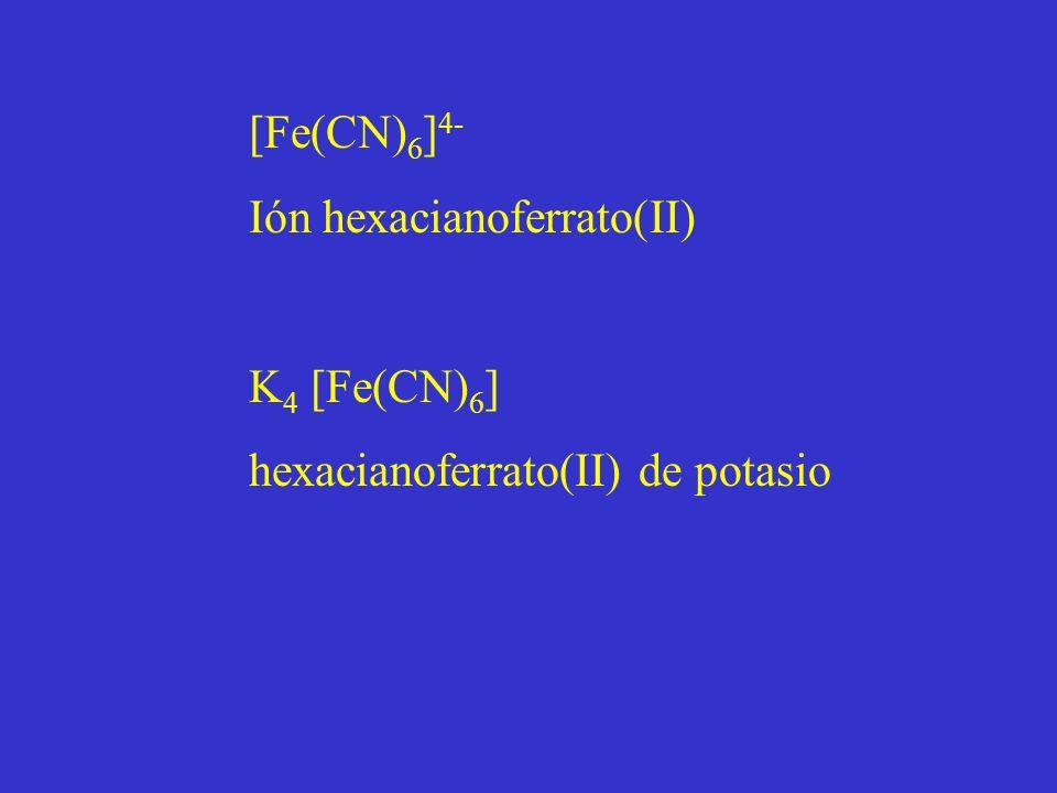 [Fe(CN) 6 ] 4- Ión hexacianoferrato(II) K 4 [Fe(CN) 6 ] hexacianoferrato(II) de potasio