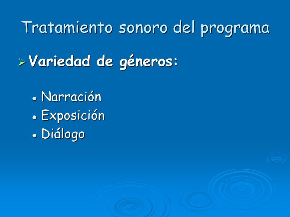 Tratamiento sonoro del programa Variedad de géneros: Variedad de géneros: Narración Narración Exposición Exposición Diálogo Diálogo
