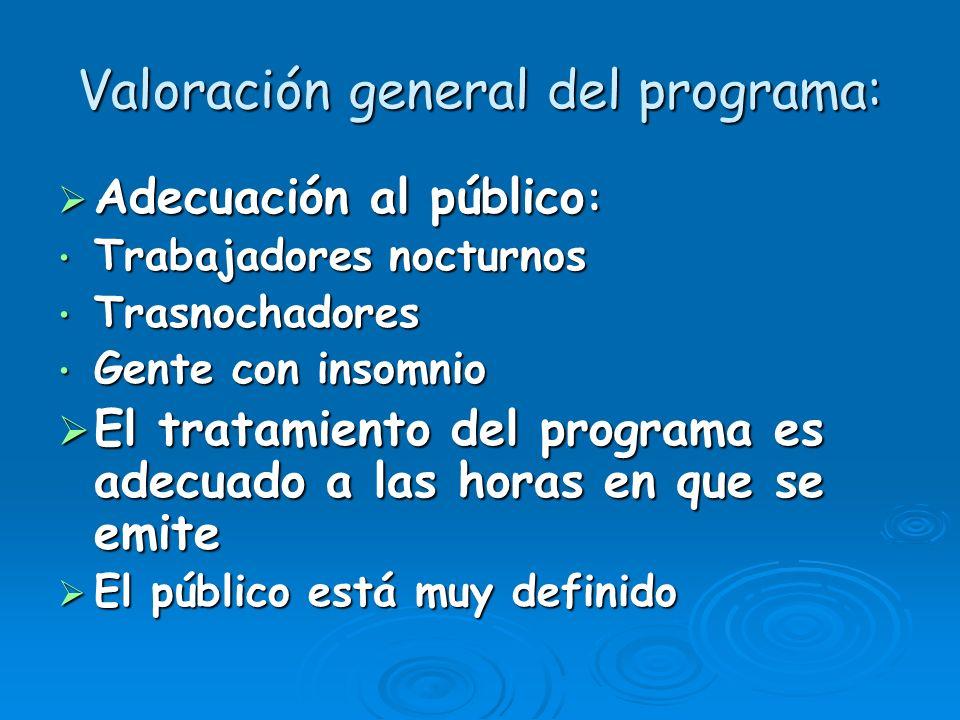 Valoración general del programa: Adecuación al público : Adecuación al público : Trabajadores nocturnos Trabajadores nocturnos Trasnochadores Trasnoch