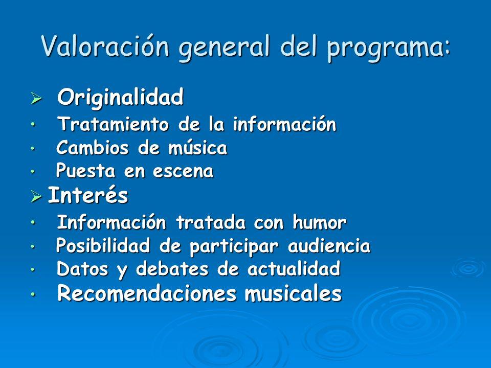 Valoración general del programa: Originalidad Originalidad Tratamiento de la información Tratamiento de la información Cambios de música Cambios de mú