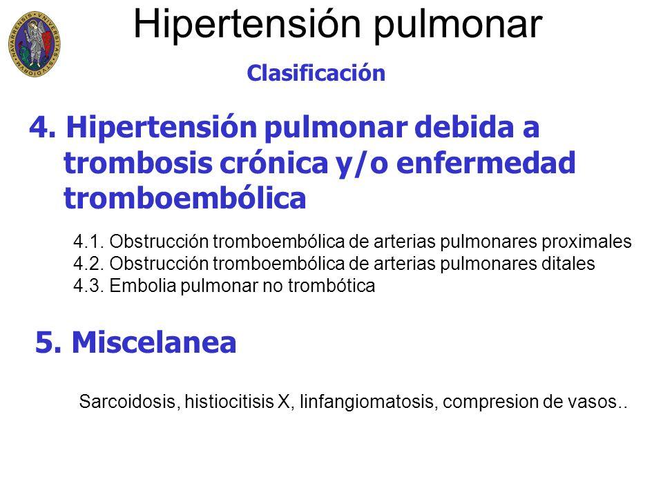 Hipertensión pulmonar Clasificación 4. Hipertensión pulmonar debida a trombosis crónica y/o enfermedad tromboembólica 5. Miscelanea 4.1. Obstrucción t
