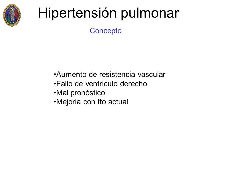 Hipertensión pulmonar Concepto PAPmedia > 25mmHg en reposo PAPmedia > 30mmHg en ejercicio Primaria Secundaria