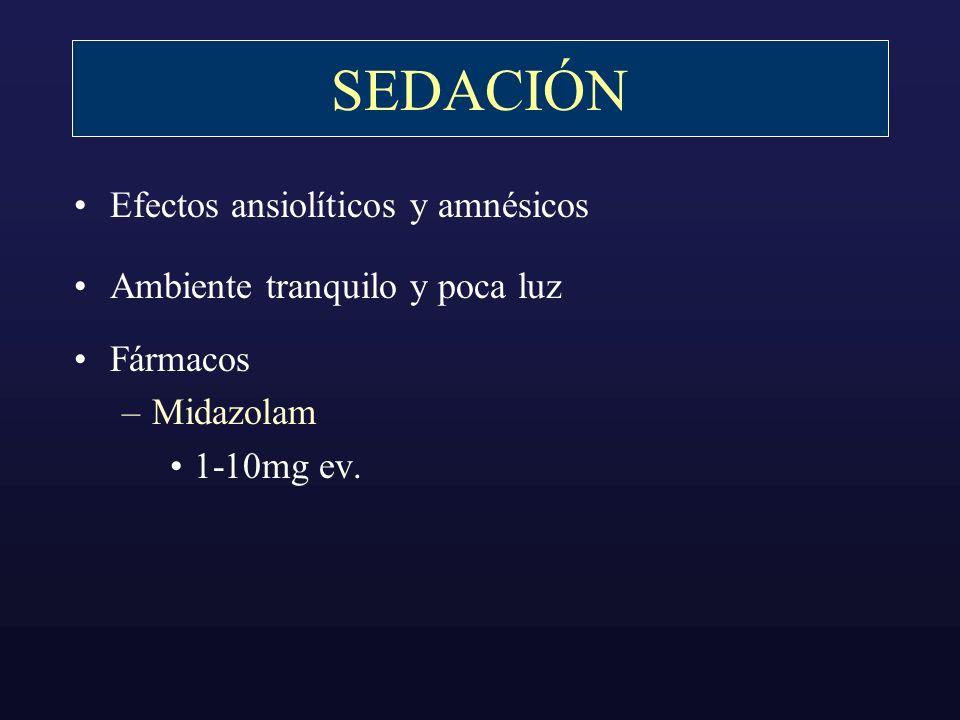 SEDACIÓN Efectos ansiolíticos y amnésicos Ambiente tranquilo y poca luz Fármacos –Midazolam 1-10mg ev.