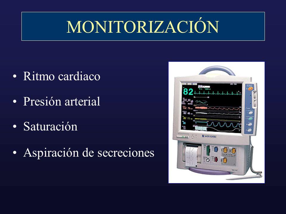 MONITORIZACIÓN Ritmo cardiaco Presión arterial Saturación Aspiración de secreciones