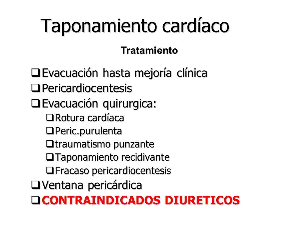 Taponamiento cardíaco Rx:pocos datos Rx:pocos datos ECG:bajo voltaje ECG:bajo voltaje Cateterismo:>de presión en ambos ventriculos,auriculas,vena cava