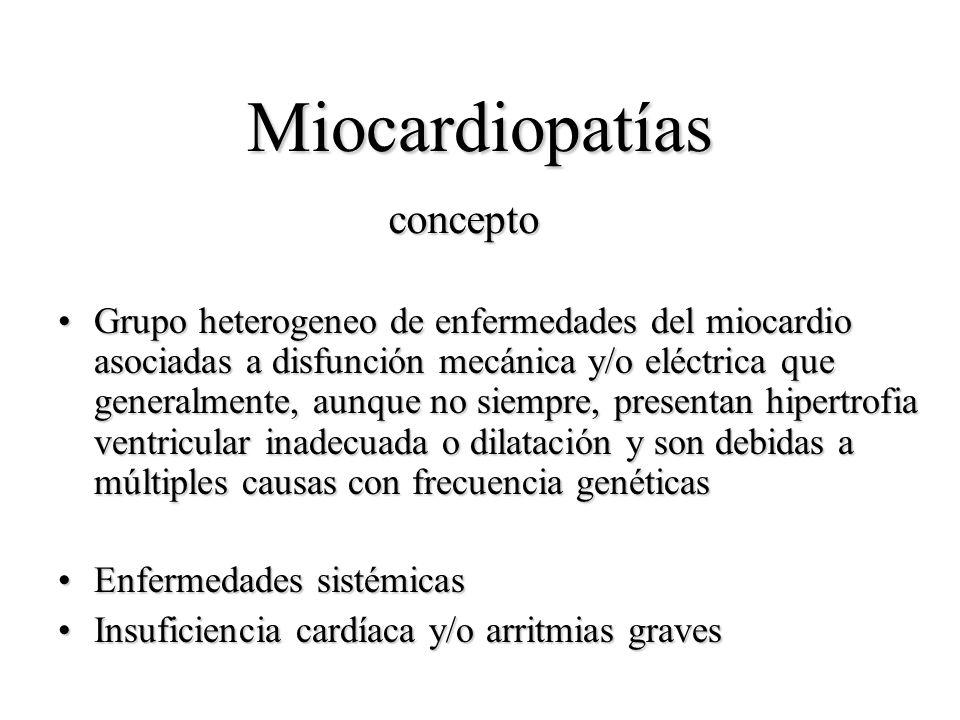 Miocardiopatías Grupo heterogeneo de enfermedades del miocardio asociadas a disfunción mecánica y/o eléctrica que generalmente, aunque no siempre, pre
