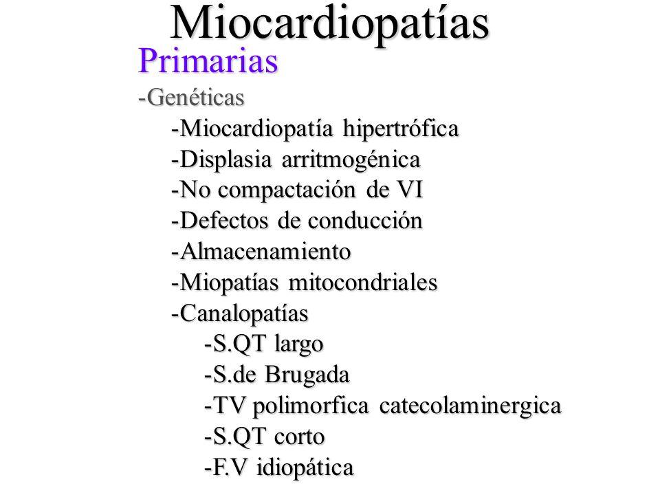 Miocardiopatías Primarias -Genéticas -Miocardiopatía -Miocardiopatía hipertrófica -Displasia -Displasia arritmogénica -No -No compactación de VI -Defe