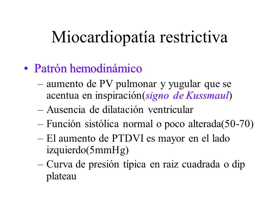 Miocardiopatía restrictiva Patrón hemodinámicoPatrón hemodinámico signo de Kussmaul –aumento de PV pulmonar y yugular que se acentua en inspiración(si