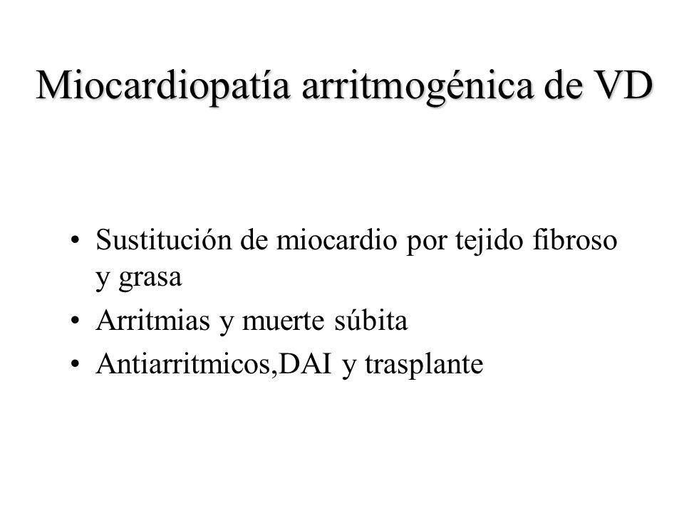 Miocardiopatía arritmogénica de VD Sustitución de miocardio por tejido fibroso y grasa Arritmias y muerte súbita Antiarritmicos,DAI y trasplante