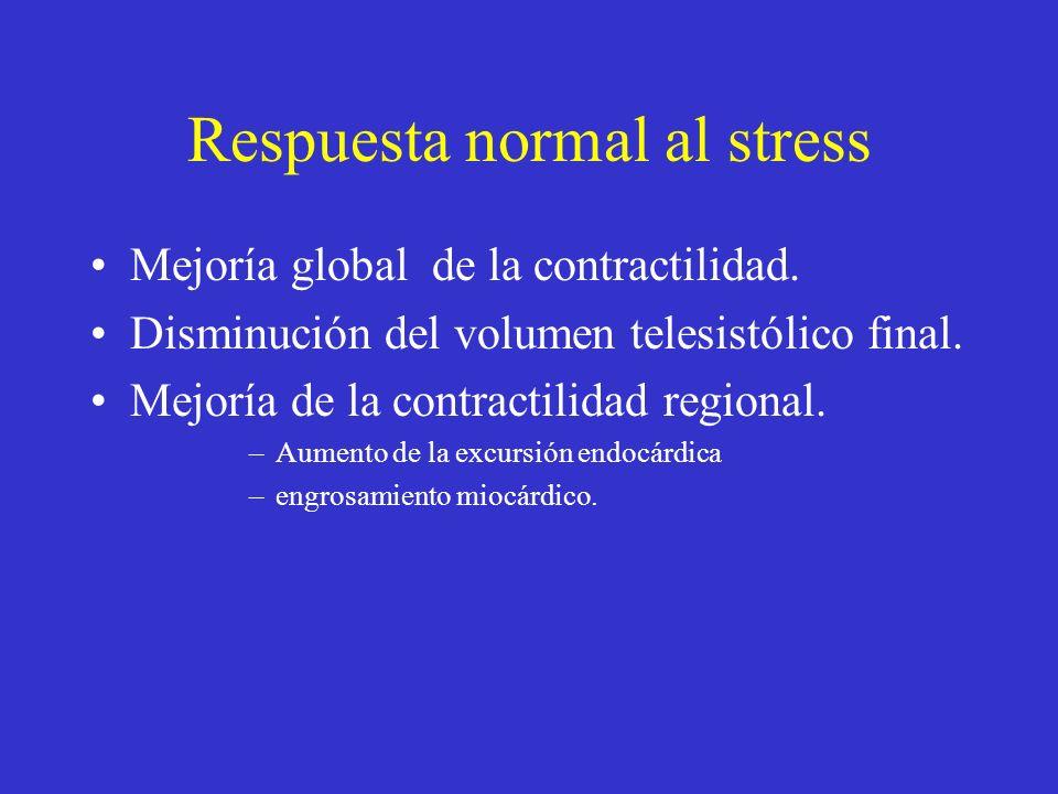Respuesta normal al stress Mejoría global de la contractilidad. Disminución del volumen telesistólico final. Mejoría de la contractilidad regional. –A