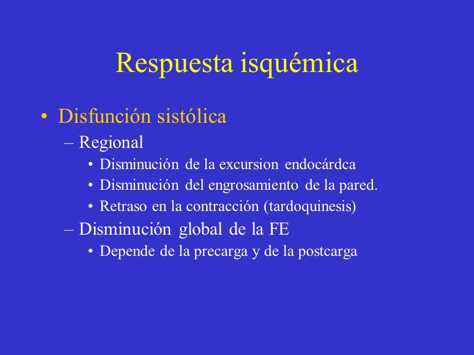 Respuesta isquémica Disfunción sistólica –Regional Disminución de la excursion endocárdca Disminución del engrosamiento de la pared. Retraso en la con