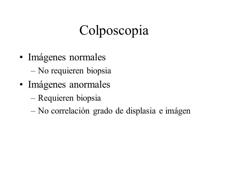 Colposcopia Imágenes normales –No requieren biopsia Imágenes anormales –Requieren biopsia –No correlación grado de displasia e imágen