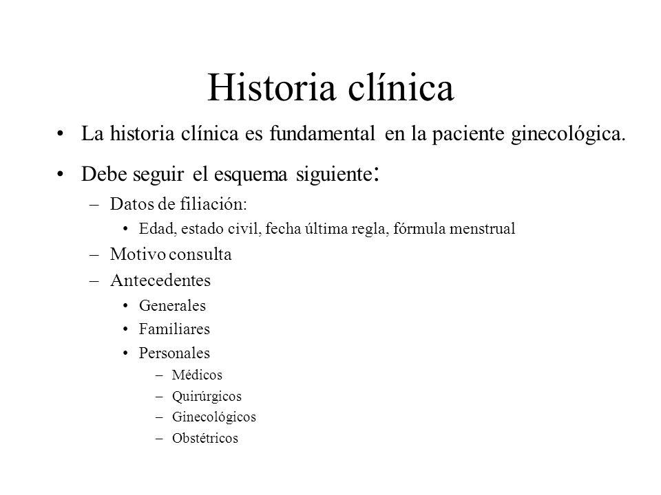 Historia clínica La historia clínica es fundamental en la paciente ginecológica. Debe seguir el esquema siguiente : –Datos de filiación: Edad, estado
