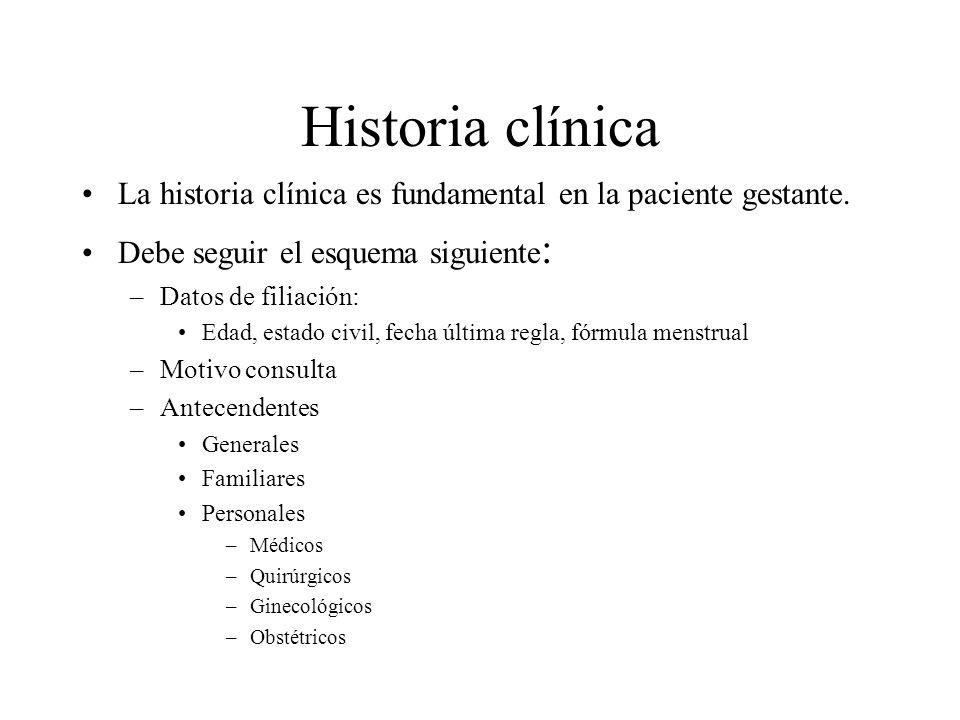 Historia clínica Importancia de la historia clínica: –Clasificar riesgo del embarazo ALTO BAJO