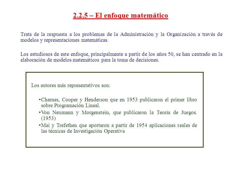 2.2.5 – El enfoque matemático Trata de la respuesta a los problemas de la Administración y la Organización a través de modelos y representaciones mate