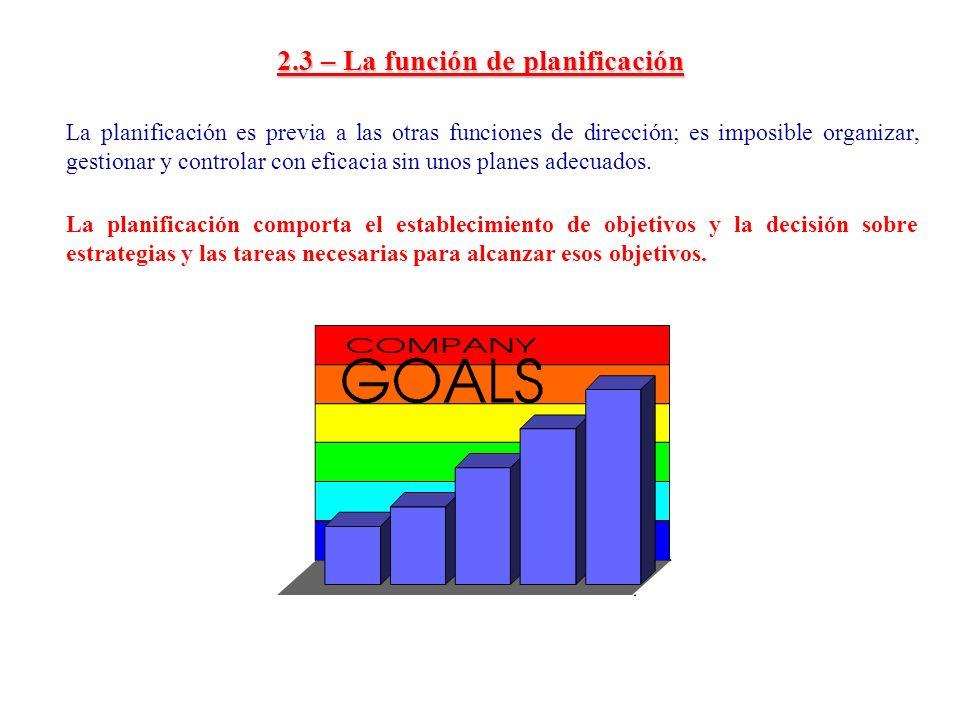 2.3 – La función de planificación La planificación es previa a las otras funciones de dirección; es imposible organizar, gestionar y controlar con efi