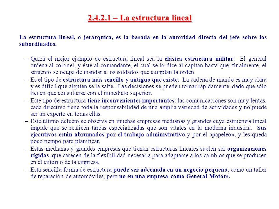 2.4.2.1 – La estructura lineal La estructura lineal, o jerárquica, es la basada en la autoridad directa del jefe sobre los subordinados. –Quizá el mej