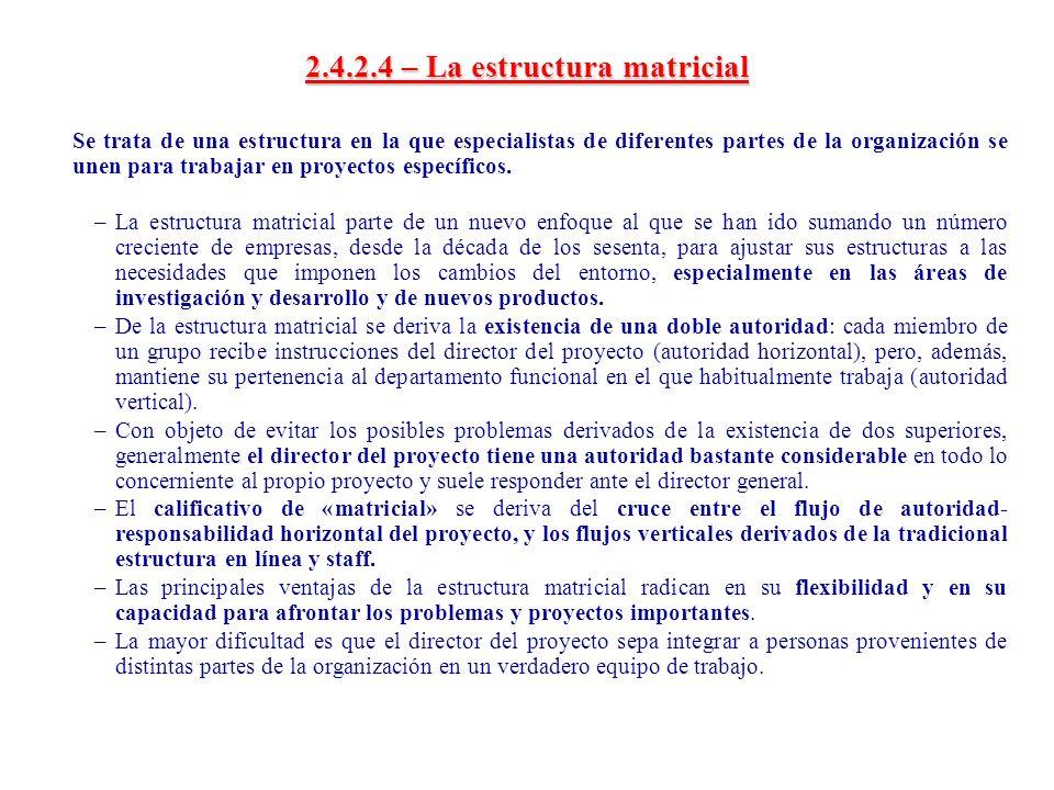 2.4.2.4 – La estructura matricial Se trata de una estructura en la que especialistas de diferentes partes de la organización se unen para trabajar en