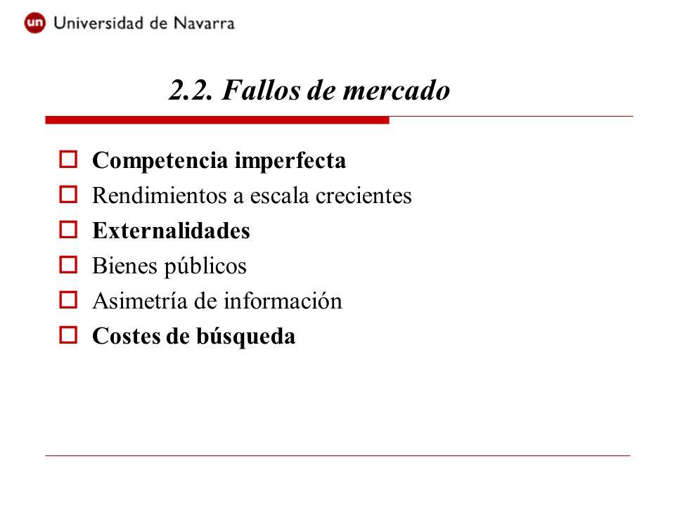 Competencia imperfecta Rendimientos a escala crecientes Externalidades Bienes públicos Asimetría de información Costes de búsqueda 2.2. Fallos de merc