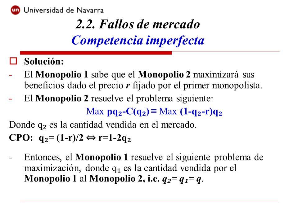 Solución: -El Monopolio 1 sabe que el Monopolio 2 maximizará sus beneficios dado el precio r fijado por el primer monopolista. -El Monopolio 2 resuelv