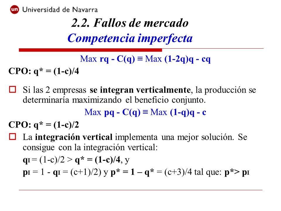 Max rq - C(q) Max (1-2q)q - cq CPO: q* = (1-c)/4 Si las 2 empresas se integran verticalmente, la producción se determinaría maximizando el beneficio c
