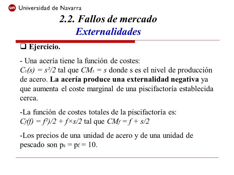 2.2. Fallos de mercado Externalidades Ejercicio. - Una acería tiene la función de costes: C s (s) = s²/2 tal que CM s = s donde s es el nivel de produ