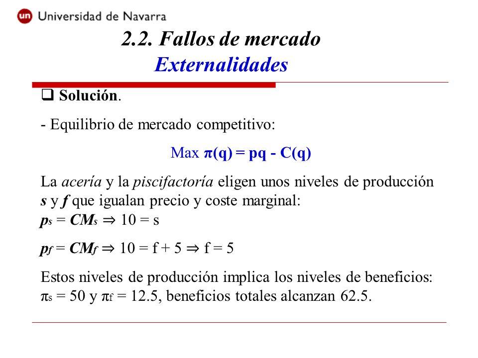 2.2. Fallos de mercado Externalidades Solución. - Equilibrio de mercado competitivo: Max π(q) = pq - C(q) La acería y la piscifactoría eligen unos niv