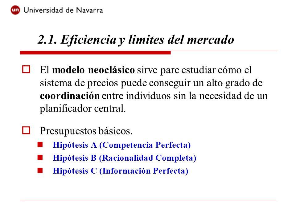2.1. Eficiencia y limites del mercado El modelo neoclásico sirve pare estudiar cómo el sistema de precios puede conseguir un alto grado de coordinació