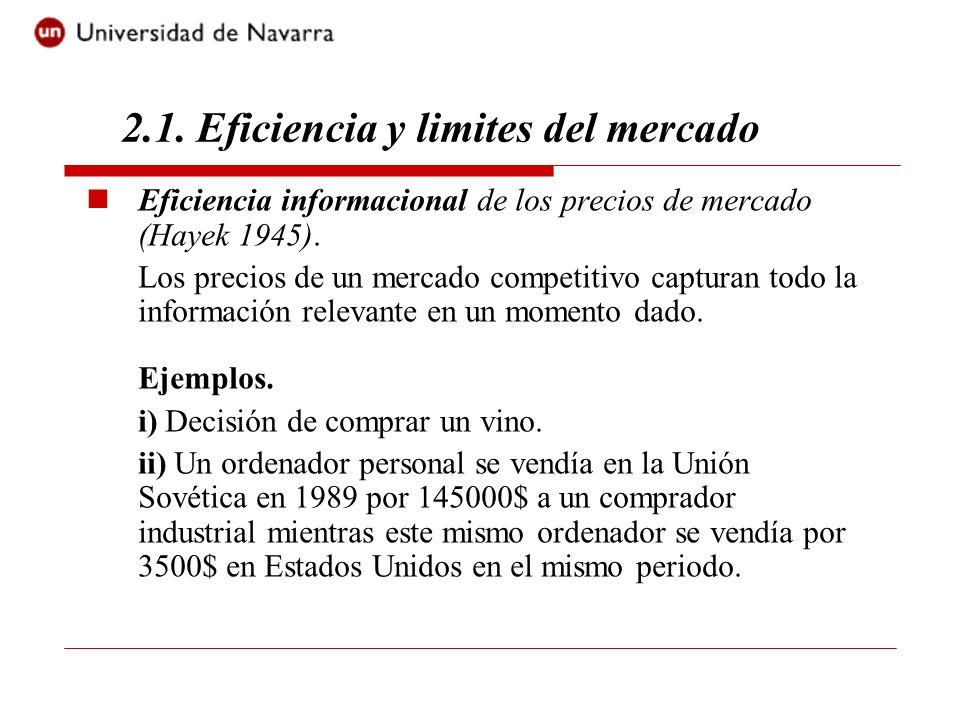 2.1. Eficiencia y limites del mercado Eficiencia informacional de los precios de mercado (Hayek 1945). Los precios de un mercado competitivo capturan
