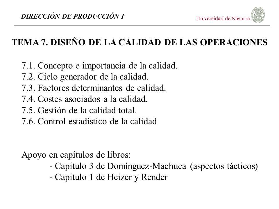 DIRECCIÓN DE PRODUCCIÓN I TEMA 7. DISEÑO DE LA CALIDAD DE LAS OPERACIONES 7.1. Concepto e importancia de la calidad. 7.2. Ciclo generador de la calida