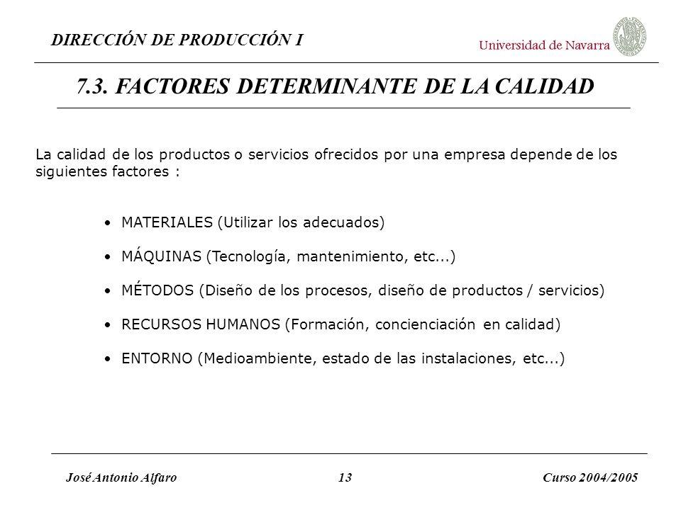 DIRECCIÓN DE PRODUCCIÓN I José Antonio Alfaro13Curso 2004/2005 La calidad de los productos o servicios ofrecidos por una empresa depende de los siguie