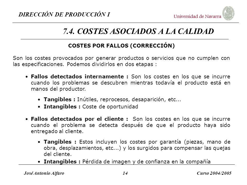 DIRECCIÓN DE PRODUCCIÓN I José Antonio Alfaro14Curso 2004/2005 COSTES POR FALLOS (CORRECCIÓN) Son los costes provocados por generar productos o servic