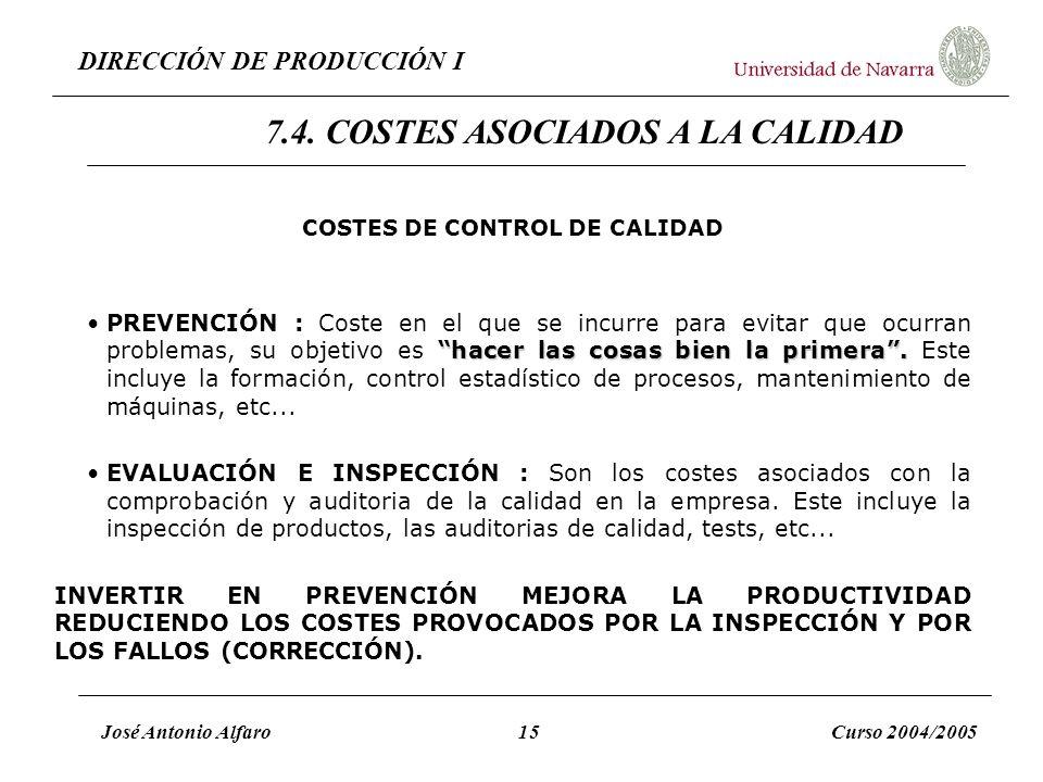 DIRECCIÓN DE PRODUCCIÓN I José Antonio Alfaro15Curso 2004/2005 COSTES DE CONTROL DE CALIDAD hacer las cosas bien la primera.PREVENCIÓN : Coste en el q