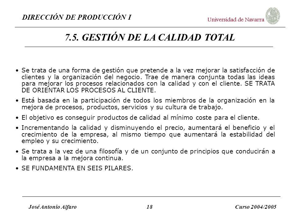 DIRECCIÓN DE PRODUCCIÓN I José Antonio Alfaro18Curso 2004/2005 Se trata de una forma de gestión que pretende a la vez mejorar la satisfacción de clien
