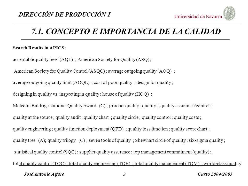 DIRECCIÓN DE PRODUCCIÓN I José Antonio Alfaro3Curso 2004/2005 7.1. CONCEPTO E IMPORTANCIA DE LA CALIDAD Search Results in APICS: acceptable quality le