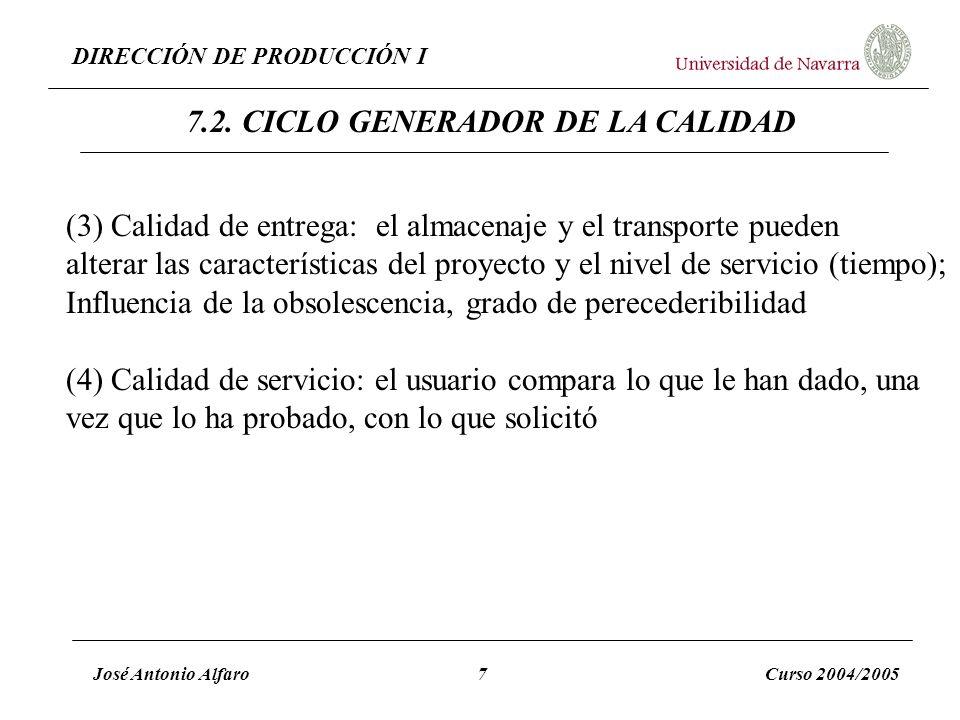 DIRECCIÓN DE PRODUCCIÓN I José Antonio Alfaro7Curso 2004/2005 (3) Calidad de entrega: el almacenaje y el transporte pueden alterar las características