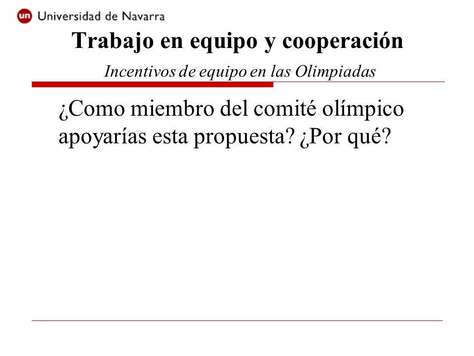 ¿Como miembro del comité olímpico apoyarías esta propuesta? ¿Por qué? Trabajo en equipo y cooperación Incentivos de equipo en las Olimpiadas