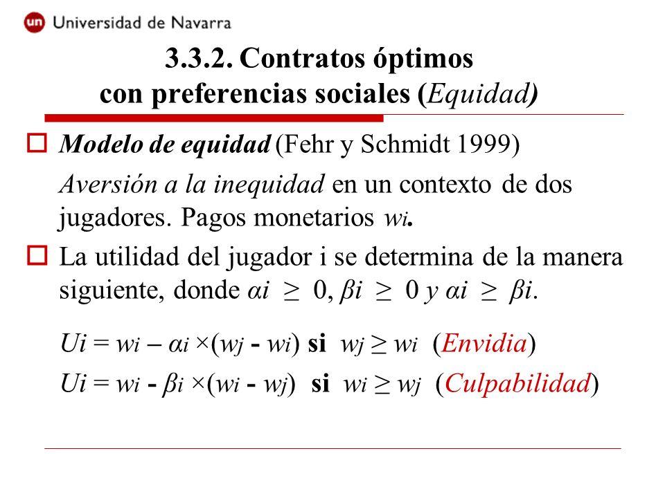 Modelo de equidad (Fehr y Schmidt 1999) Aversión a la inequidad en un contexto de dos jugadores. Pagos monetarios w i. La utilidad del jugador i se de
