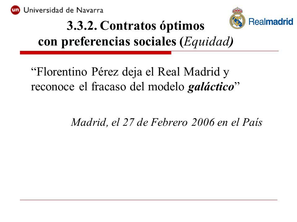 Florentino Pérez deja el Real Madrid y reconoce el fracaso del modelo galáctico Madrid, el 27 de Febrero 2006 en el País 3.3.2. Contratos óptimos con