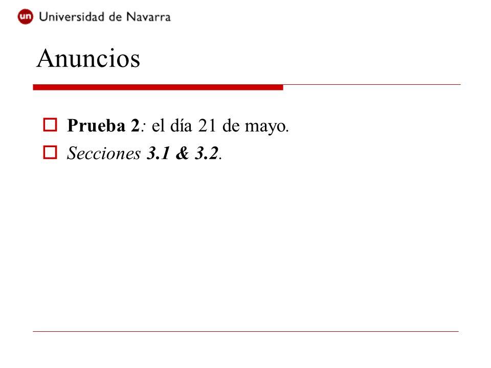 Anuncios Prueba 2: el día 21 de mayo. Secciones 3.1 & 3.2.