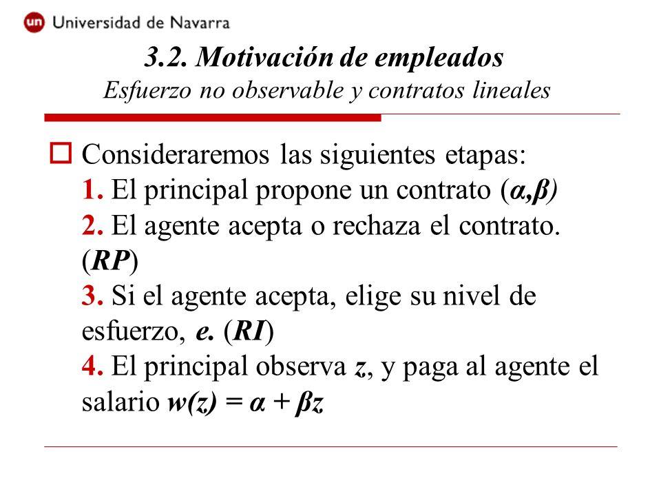 Consideraremos las siguientes etapas: 1. El principal propone un contrato (α,β) 2.