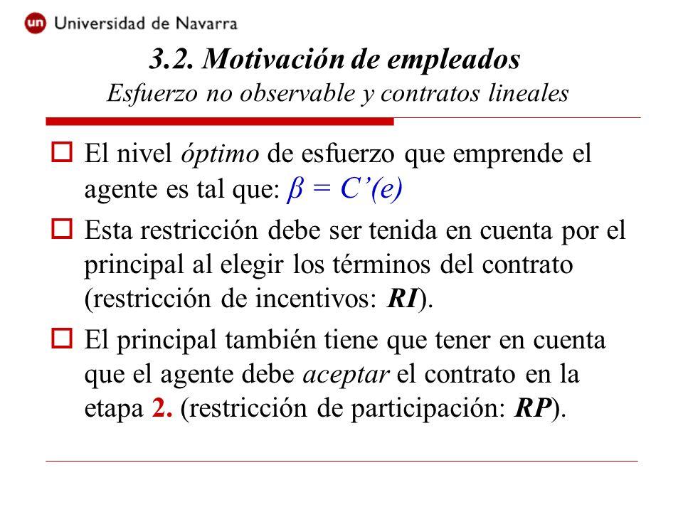 El nivel óptimo de esfuerzo que emprende el agente es tal que: β = C(e) Esta restricción debe ser tenida en cuenta por el principal al elegir los térm