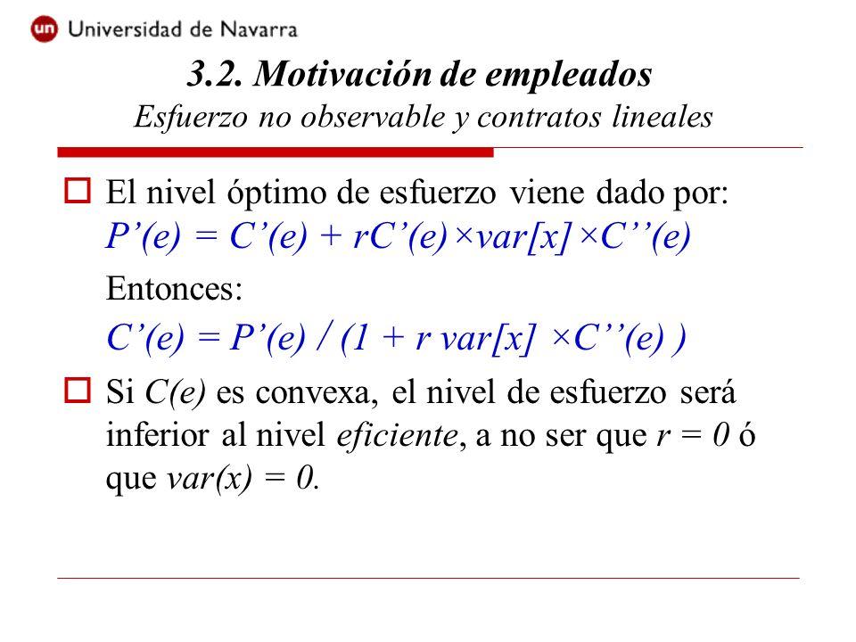 El nivel óptimo de esfuerzo viene dado por: P(e) = C(e) + rC(e)×var[x]×C(e) Entonces: C(e) = P(e) / (1 + r var[x] ×C(e) ) Si C(e) es convexa, el nivel