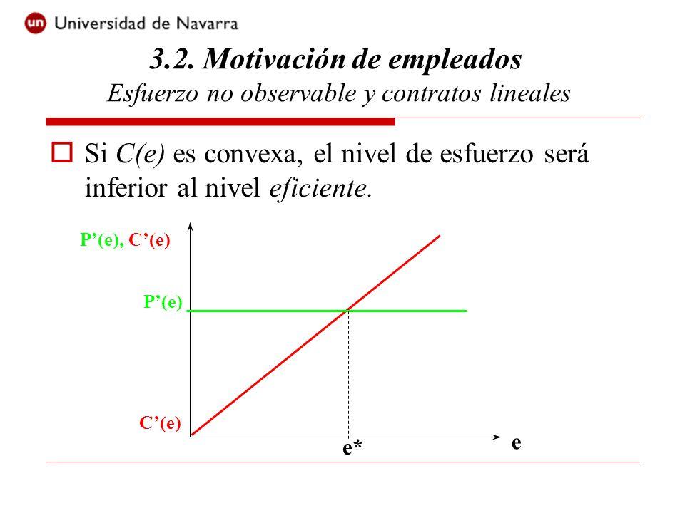 Si C(e) es convexa, el nivel de esfuerzo será inferior al nivel eficiente. 3.2. Motivación de empleados Esfuerzo no observable y contratos lineales e