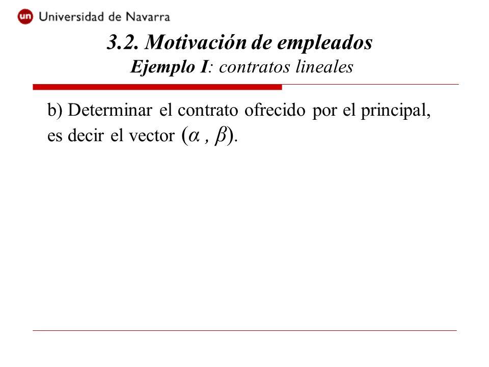 3.2. Motivación de empleados Ejemplo I: contratos lineales b) Determinar el contrato ofrecido por el principal, es decir el vector (α, β).