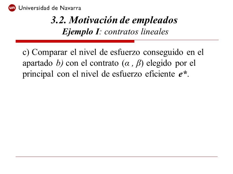 3.2. Motivación de empleados Ejemplo I: contratos lineales c) Comparar el nivel de esfuerzo conseguido en el apartado b) con el contrato (α, β) elegid